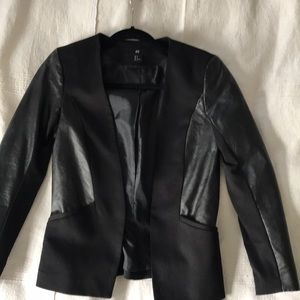 Blazer with faux leather